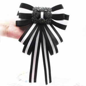 Black and White Bow Brooch